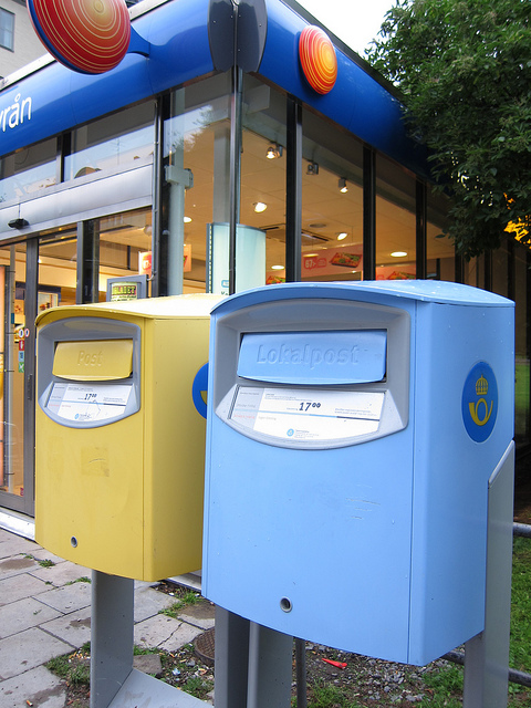 国旗カラーがかわいいスウェーデンの郵便 Posten