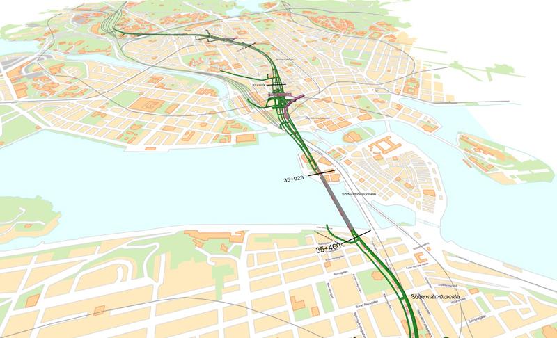 ゼーデルマルムからリッダーホルメン島までは海中トンネル